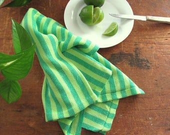 Modern Citrus Lemon Lime Green Kitchen Dish Towel, Mojito Margarita Cocktail Bar Towel, Bar Accessories Hand Woven Cotton Towel Foodie Gift