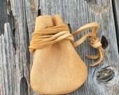 Leather medicine bag , Leather necklace bag, Leather crystal bag, Drawstring neck bag, Tribal medicine pouch ,  Buckskin leather neck pouch