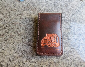 Handmade Money Clip Stamped with Semi Truck