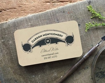 Monogram Business Cards - Vintage Inspired Calling Cards - Stationery Logo Custom for You