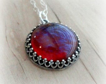 Sterling Silver - Dragons Breath - Fire Opal Necklace - Wiccan Jewelry - Gothic Jewelry - Fantasy Jewelry - Vintage Necklace - Gift for Mom