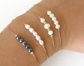 pearl bracelet, gold bracelet, thin bracelet, dainty bracelet, bridesmaid bracelet, gemstone bracelet, bar bracelet, stackable bracelet