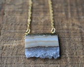 Amethyst Slice Necklace in Gold - Amethyst Layering Necklace
