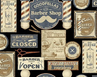 Barber Shop from Benartex - Full or Half Yard Shave Haircut Black - Old Time Barber Shop Signs, Barber Pole