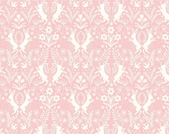 Salisbury Spring from Lewis and Irene - Full or Half yard Little Hares White on Pink - Easter - Bunnies on Pink