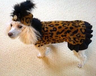 Cheetah Fur Ruffle Dog Jacket, Faux Fur, Dog Coat, Dog Jackets