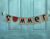 Ready to Ship Summer watermelon burlap banner handmade painted seasonal home decor sign photo prop