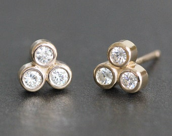 Moissanite Trio Stud Earrings in 14K Solid Gold Setting - Bezel Set Post Earrings - Ethical Diamond Alternative