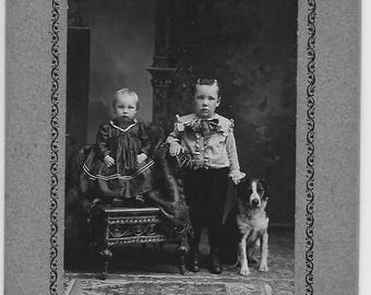 Vintage Photo of Baby, Boy & Dog ~ Cabinet Photo