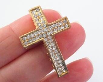 1 Cross Connector - Gold Cross Necklace Link - Sideway Cross Curver - Clear Rhinestone - Bracelet Necklace Componenet - DIY Jewelry Findings