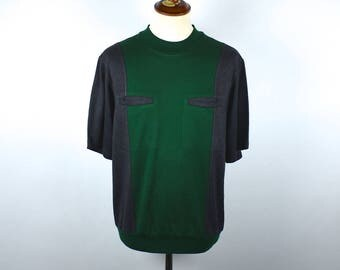 Retro Leisure Short Sleeve Shirt with Pockets, Forest Green & Dark Gray