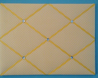 Yellow with white polka dot french memo board, 18 x 24, large