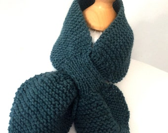 Ascot scarf hand knitted keyhole scarf teal