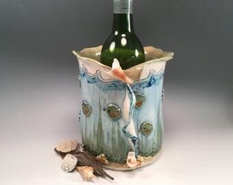 Wine chiller/vase/pottery vase/ice bucket/shell art/seashells/underwater scene/under the sea
