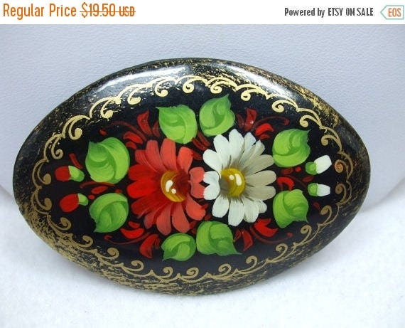 SALE 50% OFF Vintage Wood Handpainted flower brooch Russia 1960 enameled