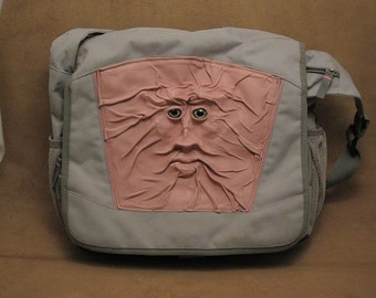 """Grichels leather and nylon 12"""" Targus laptop computer bag - """"Drinetty"""" 28034 - soft pink with silvery blue fish eyes"""