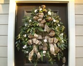 Wreath, Bird Wreath, Floral Door Wreath, XL Wreaths, Taupe Wreath, Neutral Wreaths, Fireplace Wreath