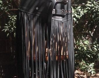 showdiva designs Floor Length Leather Fringe tassel Belt or Skirt RoCk n RoLL BoHo CowGirL CHIC distressed brown