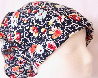 Bouffant Surgical Scrub Hat, Scrub Cap for Woman, Ties into a Ponytail Scrub Hat.