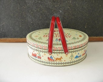 Vintage Metal  Cookie tin, handles, basket, 70s