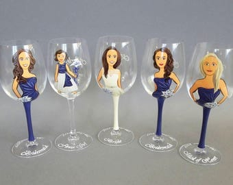 Hand Painted Personalized Bridesmaid gift glasses for Bridal Party and Flower Girl