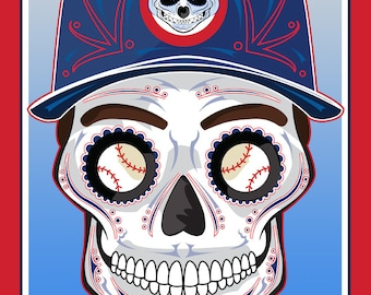 Chicago Cubs Sugar Skull Print 11x14