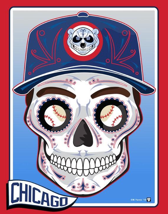 Chicago Cubs Sugar Skull Print 11x14 My Sugar Skulls