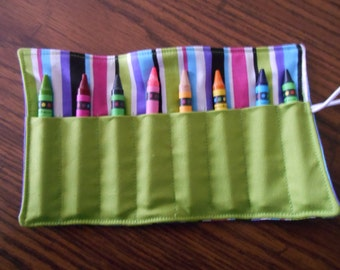 Striped limegreen hot pink purple turquoise black crayon roll up 8 count