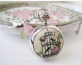 Holiday Sale Victorian Garden Pocket Watch Necklace in Silver