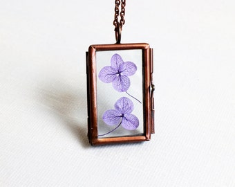 Real Flower Glass Locket Pendant Necklace.hinged rectangle glass frame pendant.memory box double sided glass locket.pressed flower botanical