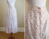 Festival Floral Maxi Skirt Vintage Grunge Pink Button Front Midi 90s XS Small