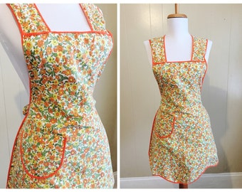 Vintage Apron Midcentury Full Smock Cotton Orange Print 60s