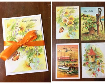 Vintage Birthday Cards and Envelopes Floral Illustrations 1980s Unused Greeting Set of 4