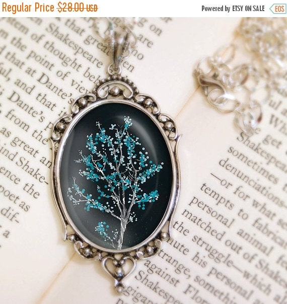 Christmas Sale Midnight Tree Blossom Necklace - Silver Pendant - Dancer in the Dark (midnight) - Wearable Art with Silver Chain