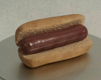 Polymer Clay Hot Dog for American Girl or other 18 inch doll - food, accessories