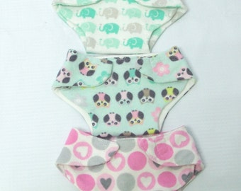 Flannel Baby Doll Diapers for Bitty Baby or similar size babydoll