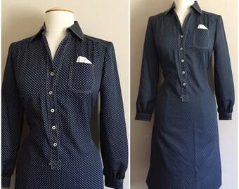 Navy Blue Polka dot Dress // Schrader Sport Petites // Blue and White // Shirt Dress