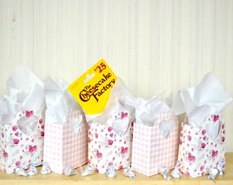 Pink Rose and Gingham Heart Handled Gift Bags - Choose from either pattern