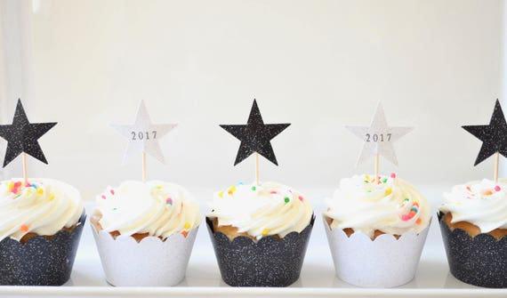 New Year's and Graduation Glitter Cupcake Wrappers in Black, White, and Yellow sparkle - Other colors available
