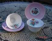 Vintage English Colclough Bone China Pink Floral Teacups and Saucers - Beautiful