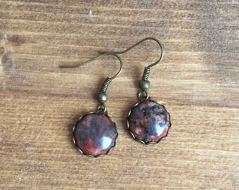 Drop Earrings with Purple Stones