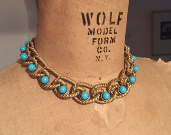 Rich Twisted Matte Gold Large Link Chain Turquoise Bead Vintage KENNETH LANE Toggle Closure Choker