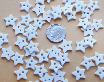 """50 White Star Buttons, 2 hole sew through, 1/2 """" (R 33)"""