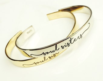 Soul Sisters Bracelets . Hand Stamped Personalized Jewelry Cuff . Friendship BFF Bracelets . TBCO