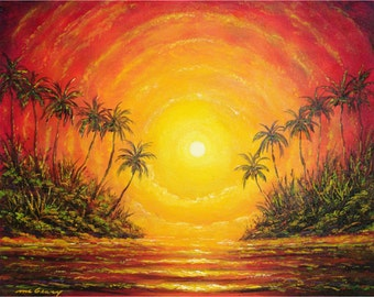 "Spectacular Sunset Florida art print 8"" x 10"" artbydennis"