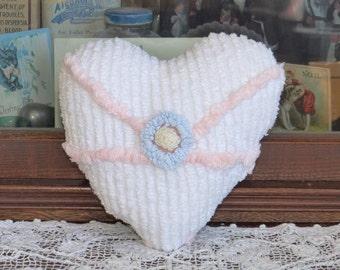 Vintage chenille Bedspread Heart Pillow white pink, lavender