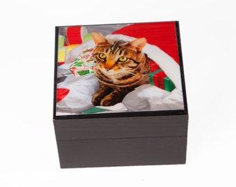 Wooden Keepsake Box, Christmas Cat Art, Gifts for Cat Lovers, Stocking Stuffer, Handmade, Cat Artwork by Deborah Julian