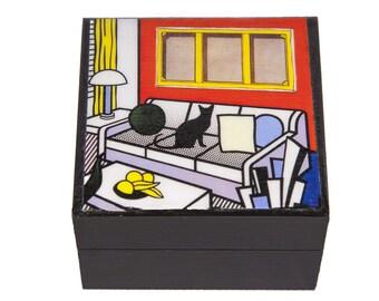 Wooden Keepsake Box, Cat Art, Cat Lover Gift, Black Cat, Memory Box, Cat Artwork, Roy Lichtenstein, Parody, Pet Memorial, Deborah Julian