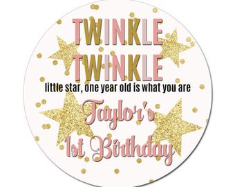 Custom Birthday Labels Personalized Twinkle Twinkle First Birthday Pink Gold Stars Round Glossy Favor Stickers