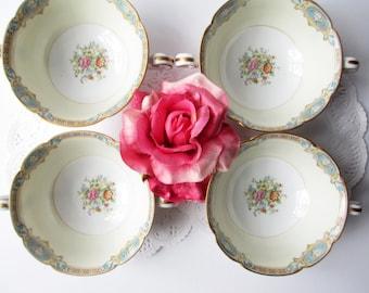 Vintage Noritake Cream Soup Bowls Marvelle Floral Set of Four